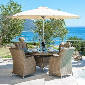 Heritage Thalia 4 Seat Round Dining Set - Willow