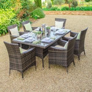 Amelia 6 Seat Rectangular Dining Set - Brown