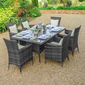 Amelia 6 Seat Rectangular Dining Set - Grey