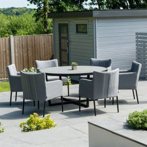 Hadid 6 Seat Round Dining Set - Flanelle